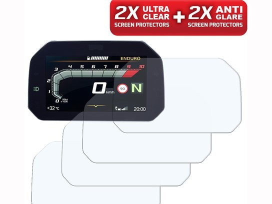 Speedo Angels Ultra Clear AND Anti-Glare TFT protectors (2 of each) – R1200GS LC/Adv.LC/1250GS/Adventure 1250 and more