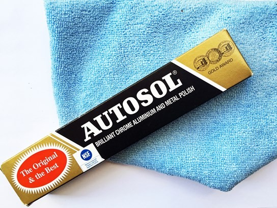 Autosol metal polish tube and Microfibre Cloth