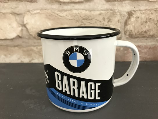 BMW Garage enamel mug