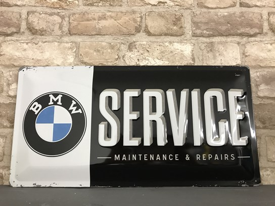 BMW Service embossed metal sign (25cm x 50cm)